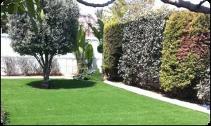התקנת דשא סינטטי בחצר וילה